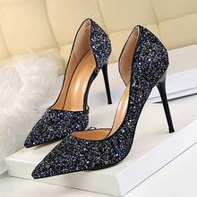 LAKESHI Extreme Women Pumps Bling Wedding Shoes Sexy High Heels Stiletto Gradient Women Heel Shoes Fashion Party Pumps Shoes(China)
