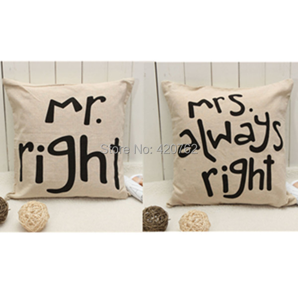 New Fashion Line Mr Mrs Right Pillow Case Wedding Gift Cushion Cover Home Decor(China (Mainland))