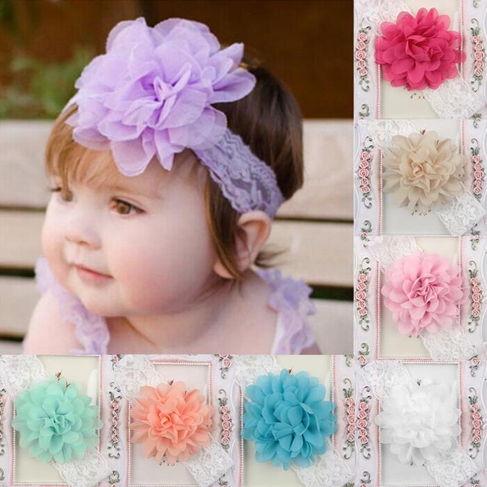 Baby Infant Girls Toddler Chiffon Elastic Lace Flower Headband Hair Band(China (Mainland))