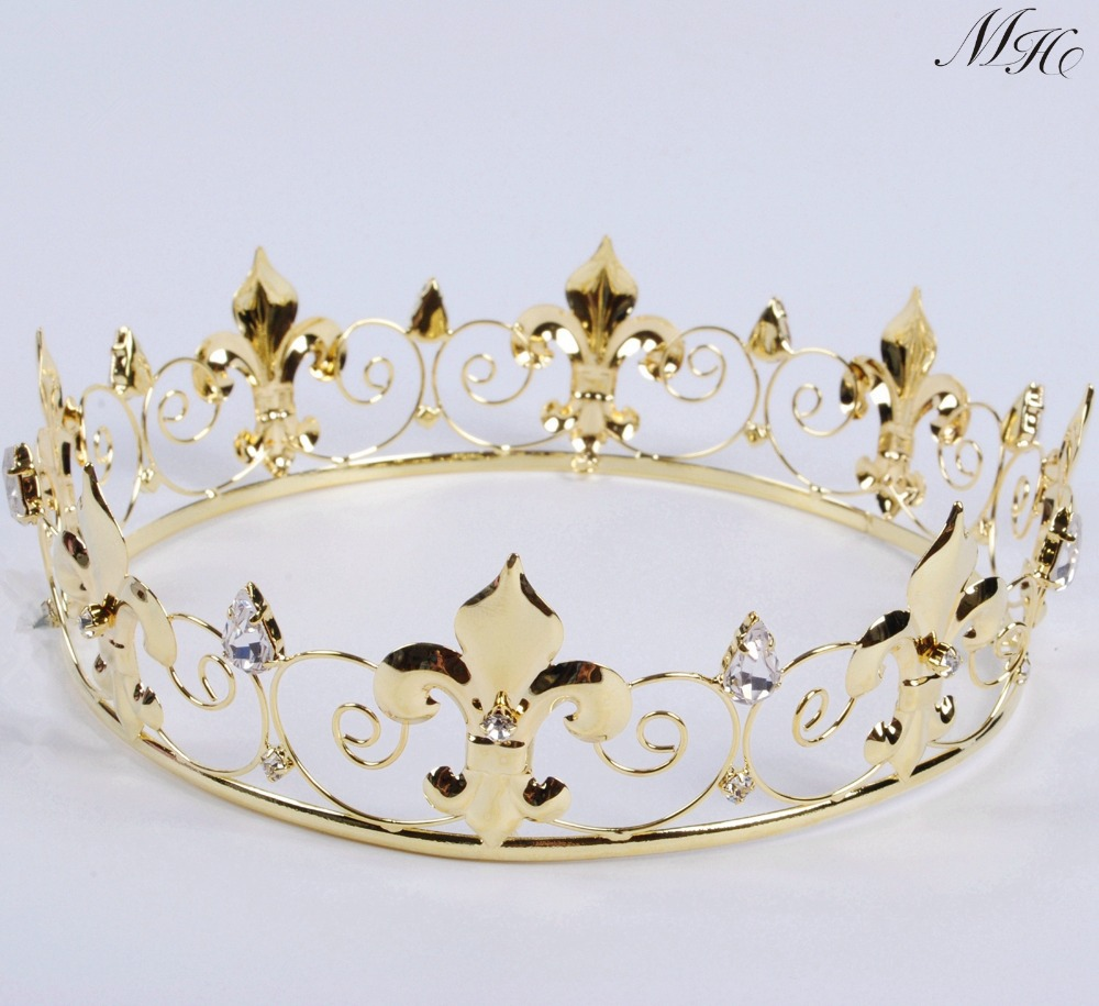 Imperial medieval golden crown round tiara clear rhinestones diadem wedding bridal pageant art - Mh deco ...