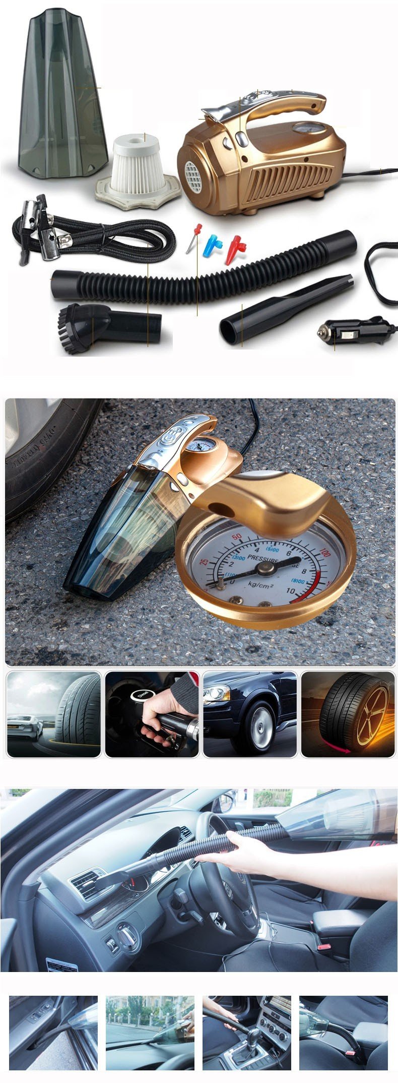 2017 Newest Portable Car Vacuum Cleaner 12V 4 IN 1 High-Power Wet & Dry Dual-use Super Suction dust buster With Inflatable Pump