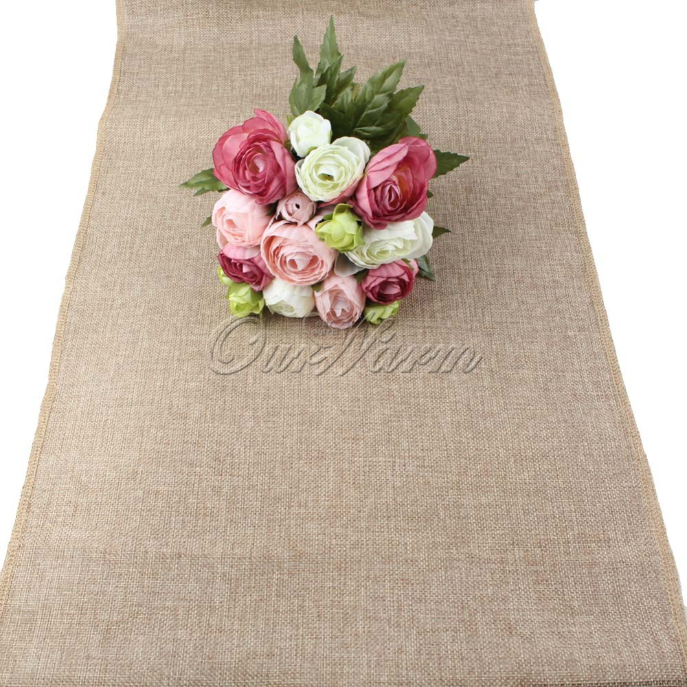 Table Runner Burlap Natural Jute Imitated Linen Rustic Decor Wedding Hessian four sizes Khaki Gray Tablecloth Party(China (Mainland))