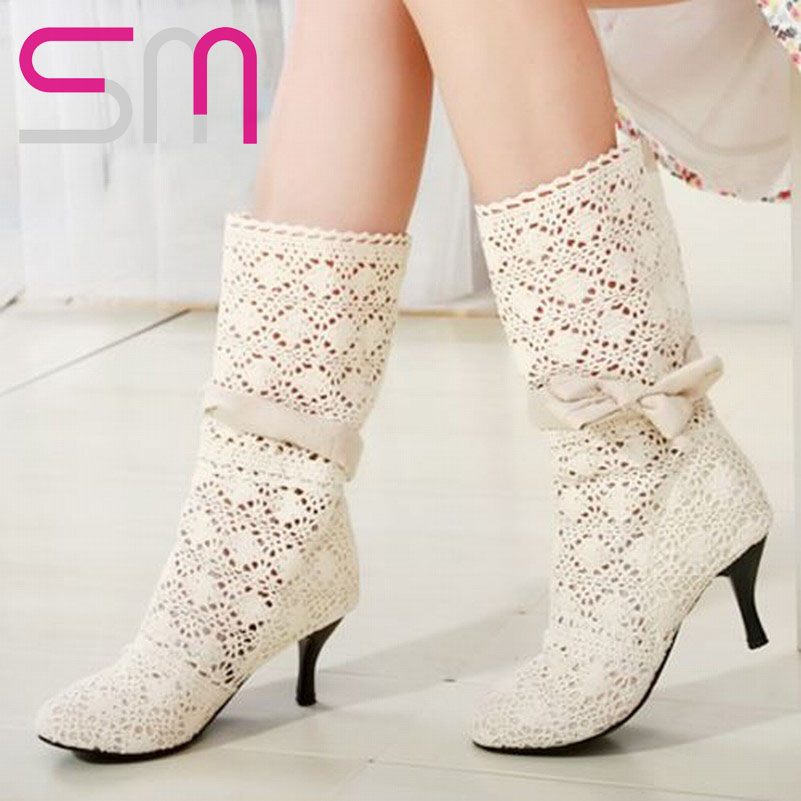 big size 34-43 high heel summer boots fashion cutout bow women's summer shoes Factory sell 2015  Med Heels Boots Shoes