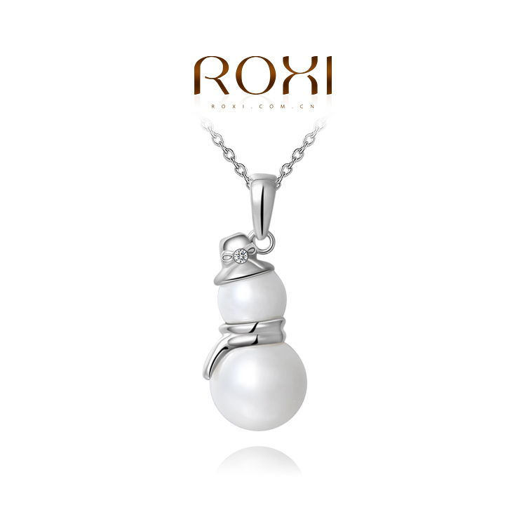 ROXI Brand 2015 New Years Gift Snowman Peal Pendant Necklace Silver Link Chain Calabash Father Necklace Men Jewelry 2030902450<br><br>Aliexpress
