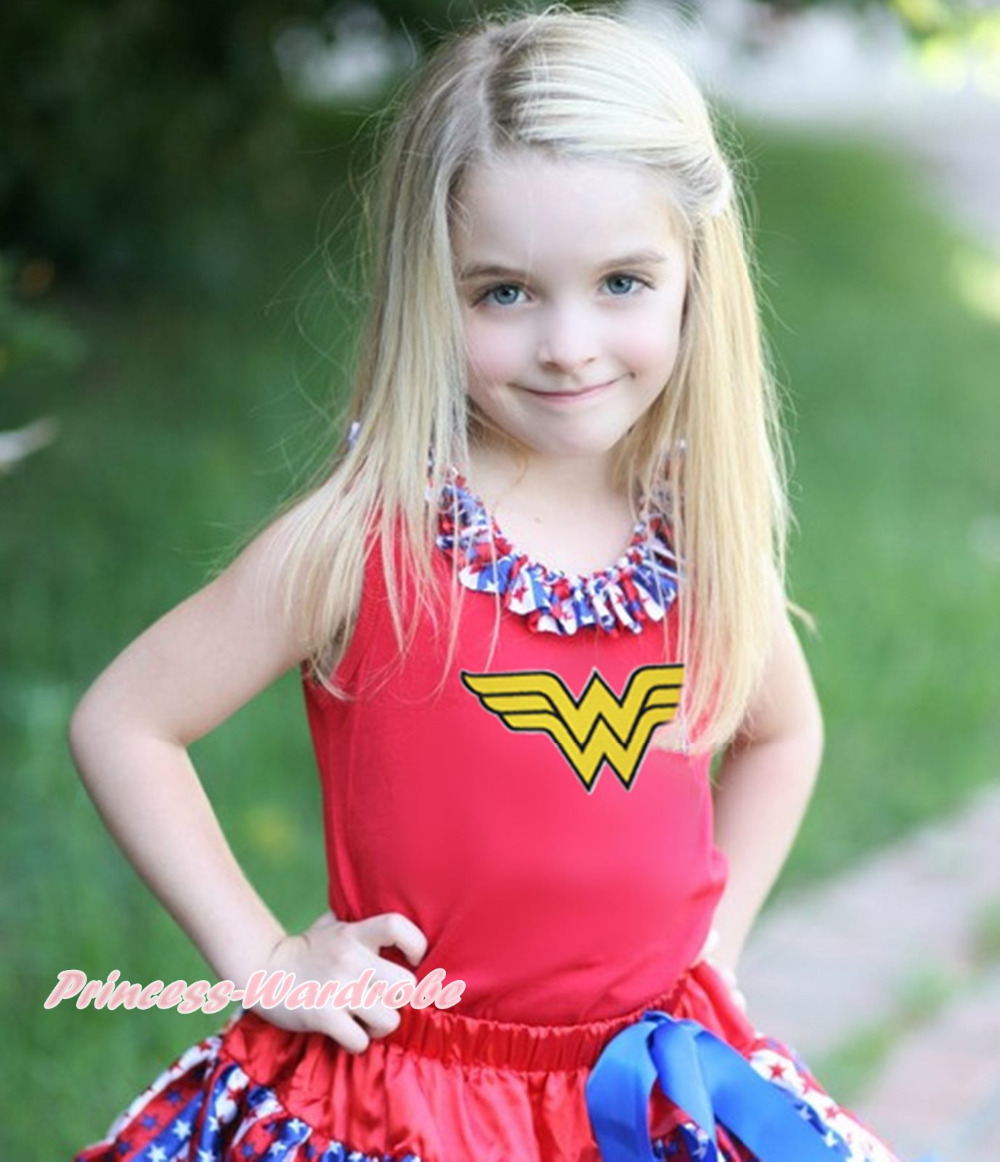 Wonder Super Hero Girl Baby Red Top Stripe Star Lacing Shirt Pettitop NB-10Year MATP0325(Hong Kong)