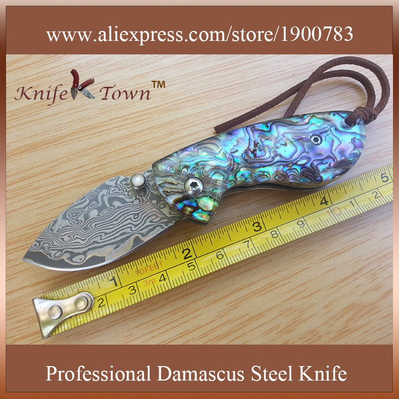 Buy DS002 portable damascus steel abalone color shell handle pocket knife camping knife edc knife cheap