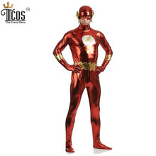 The Flash Cosplay Costume Flash Gordon Spandex Costume Halloween Man Shiny Metallic Zentai Bodysuit
