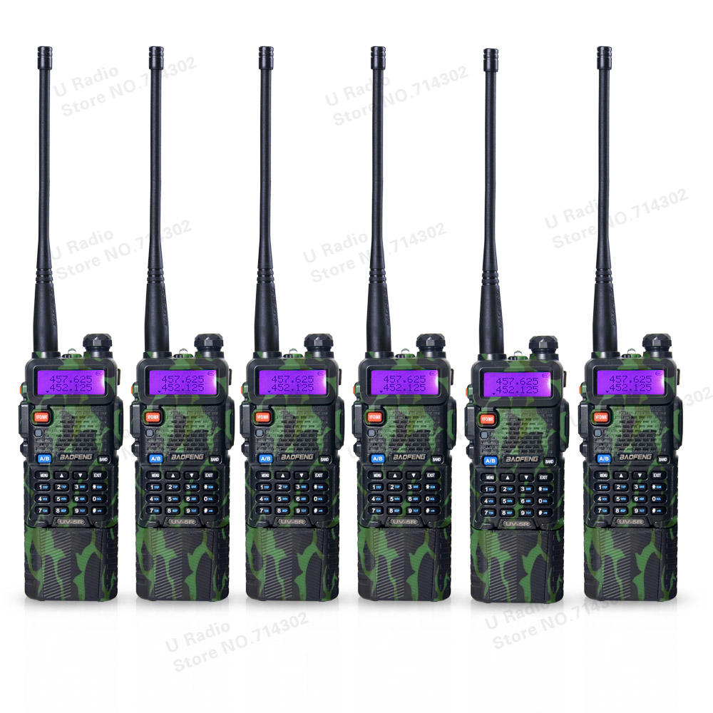6pcs/lot BAOFENG UV-5R portable walkie talkie Camouflage 3800mAh 136-174/400-520 MHz Dual Band two way radio UV5R free earpiece(China (Mainland))