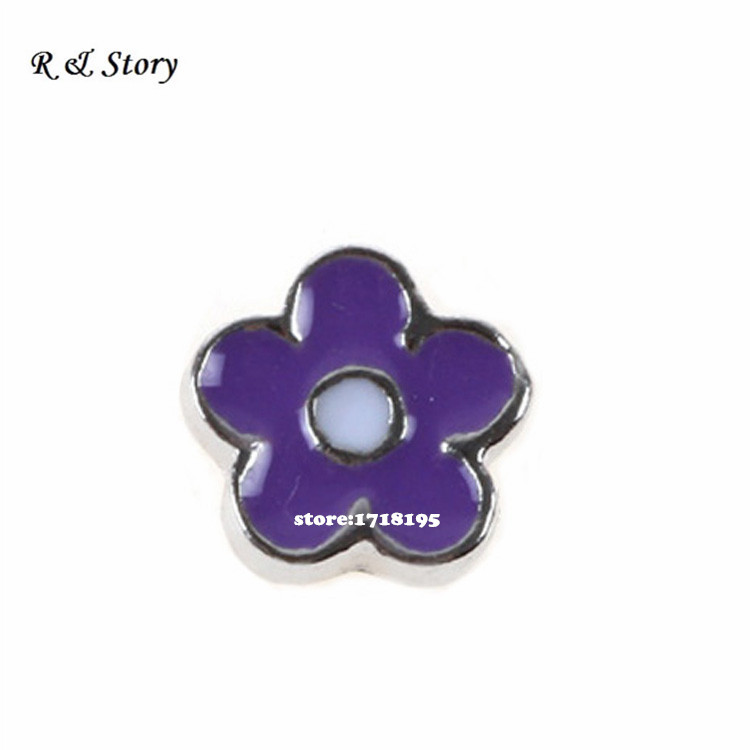 2015 Hot Sale Purple Flower Floating Charm For Origami or Hill Glass Lockets LFC_247(China (Mainland))