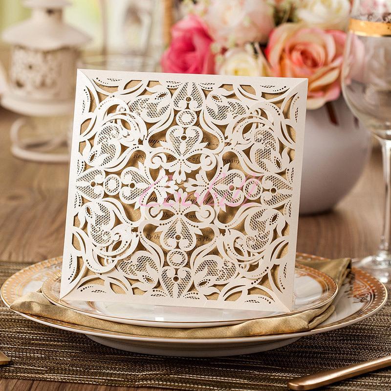50 Sets Wedding Invitations Cards Engagement Gatefold Invite Laser Cut + Blank cards +Envelops Vintage Seal White - Coohill store