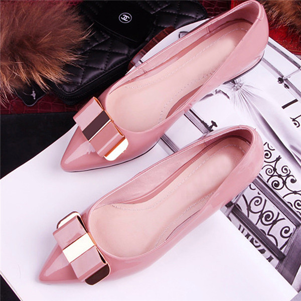 2014 Women flats female single shoes apricot,black genuine leather pointed toe US size4-8 metal decoration - ufodiag car club store