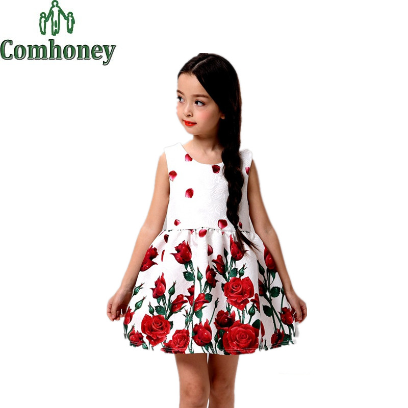 Girls Rose Dress Summer Sleeveless Girl Party Dress Infant Tutu Floral Chinese Dress Baby Princess Girls Clothes Dance Wear(China (Mainland))