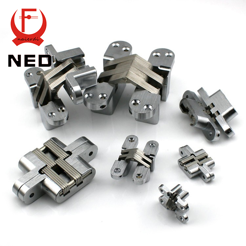 NED-4014 304 Stainless Steel Hidden Hinges 13x45MM Invisible Concealed Cross Door Hinge Bearing 20KG With Screw For Folding Door(China (Mainland))