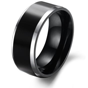 2014 Trendy  jewelry Simple Punk  Men jewelry Pure tungsten black silver edage 8mm width  hot selling wedding rings 231