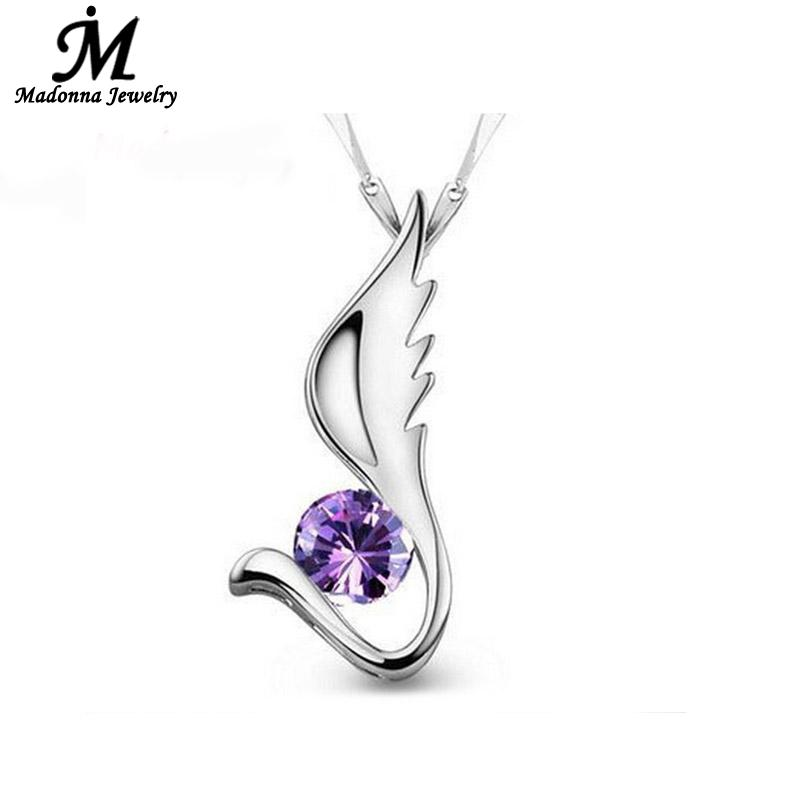 High Quality Purple White Crystal Silver Plated Pendants Angel Wings Floating Locket Charms PendantWomen Jewelry wholesale(China (Mainland))
