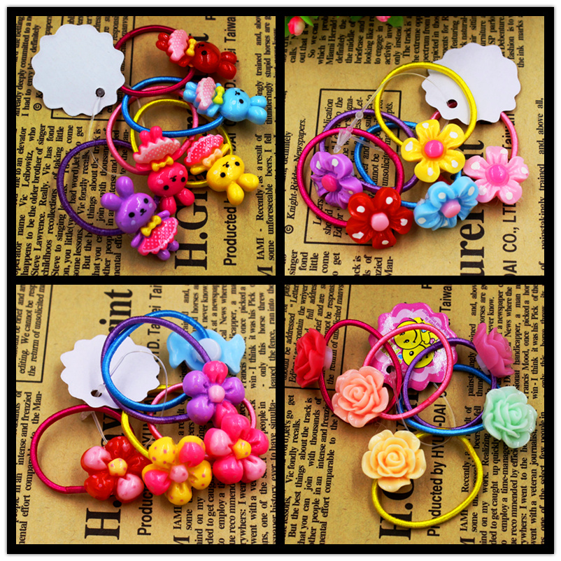 5pcs/lot Child Baby Girls' Hair Holders Rubber Bands Elastics Rabbit Candy Rose Flowers Super Cute 2015 New Fashion Tie Gum(China (Mainland))