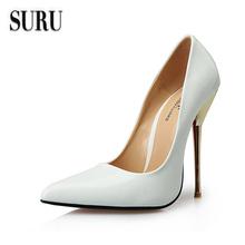 SURU Sexy red sole pointed toe pumps thin metal stilettos plus size 43 44 45 46 47 48 49 50 , big USA size 12 13 14 15 HSMA7(China (Mainland))