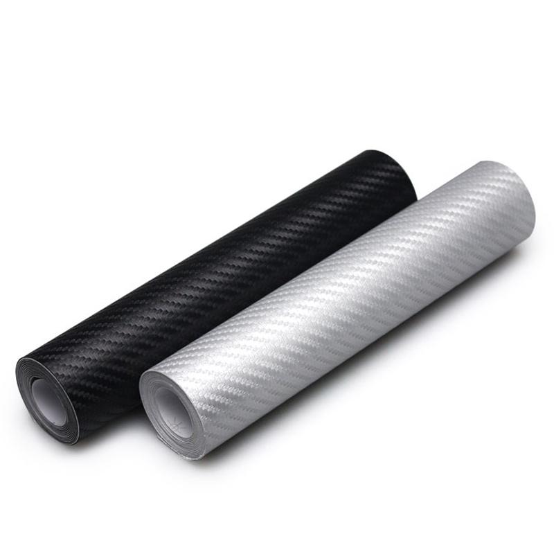 10x127cm 3D Carbon Fiber Vinyl Film Car Sticker Waterproof DIY Car Styling Wrap For Car Auto Vehicle Detailing Black Silver(China (Mainland))