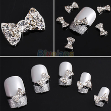 10pcs Wholesale 3D Clear Alloy Rhinestone Bow Tie Nail Art Slices DIY Decorations Free Shipping