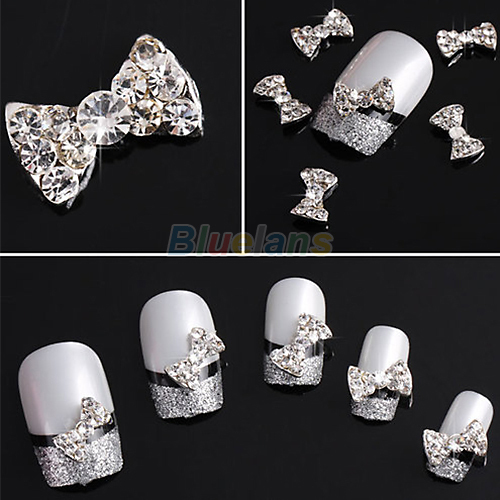 10pcs Wholesale 3D Clear Alloy Rhinestone Bow Tie Nail Art Slices DIY Decorations Free Shipping 1H7S(China (Mainland))