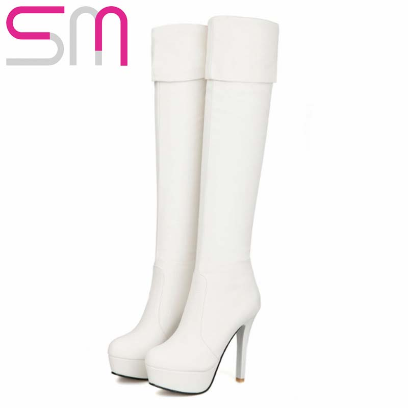 2 Styles High Quality Women Boots Thin High Heels Over the Knee Boots Winter Boots Women's Shoes Thick Platform Shoes Woman
