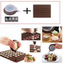Macaron Silicone Mat  mold 48 Hole Cake mold + Dessert decorate Tips Cream Squeezing silicone Nozzle Tool cake decorating tools(China (Mainland))