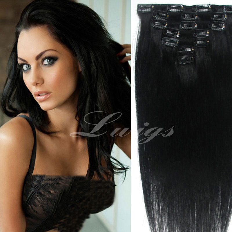 Straight human hair extension,natural black color 7pcs clip in human hair extensions 12-26inch for black women<br><br>Aliexpress