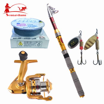Hot Sale ! Perfect Fishing Rod Set With Fishing Reel Line Fishing Lure Carbon Sea Ocean Boat Rock Telescopic Fishing Rod Tackle