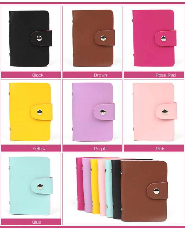 Fashion business porte carte credit card holder PU leather Buckle Cards Holders Organizer Manager Women Men