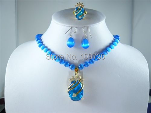 Jewelry 00846 4 colors-white pearl/blue jade/opal necklace +blue zircon pendant earring ring can choose(China (Mainland))