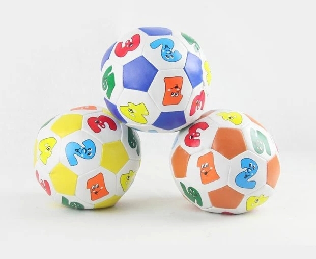 Free Shipping baby toy Soft leather baby ball, Early Education Toddler Baby's Toy Indoor Outdoor Digital Soccer Soft Ball(China (Mainland))