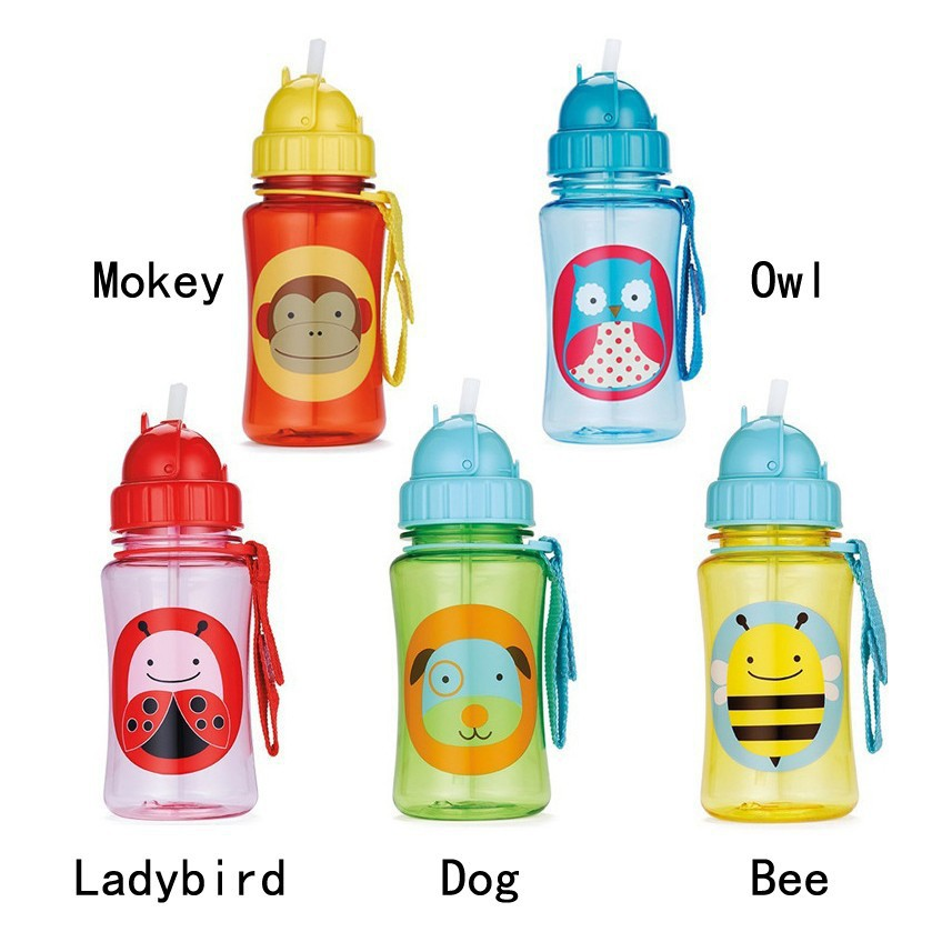 2015 New Water Bottles NO BPA 350mL American children kids learn to drink cups bottle animal zoo (ladybird owl dog bee mokey)(China (Mainland))