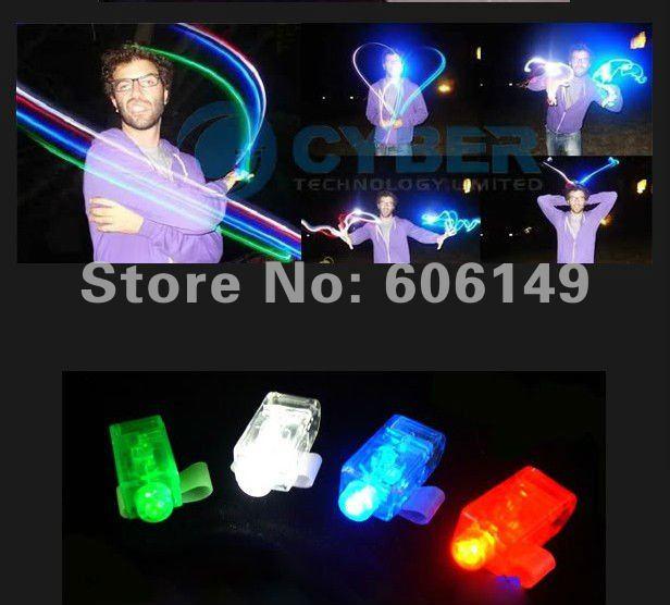 4 X Color LED Light Bright Finger Ring Party Fun Gadget Laser Beams Torch New 2000pcs/lots Free shipping(China (Mainland))