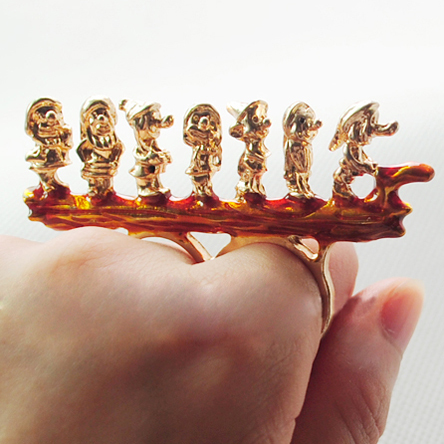 Sheegior Min.order $10 mix order Cute Fashion gold Seven Dwarfs two fingers ring Free shipping(China (Mainland))