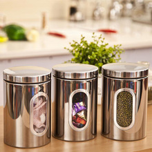ASLT Hot Sale 3pcs Stainless Steel Window Canister Tea Coffee Sugar Jar Storage Silver Free Shipping(China (Mainland))