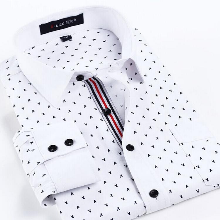 Man Spring 2015 New Arrival Fashion Mens Business Casual Long-Sleeve Polka Dot Print Dress Shirts Slim Fit Shirts Free Shipping(China (Mainland))