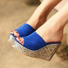 2016 princess wedges slippers platform women's platform shoes ultra high heels open toe cutout female sandals