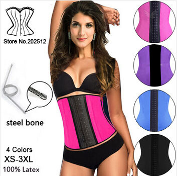 New Arrival!2015 Women Corset Steel Boned Waist Trainers Rubber Latex Corset Underwear Bustiers Slimming Body Shaper XS-3XL SSY(China (Mainland))