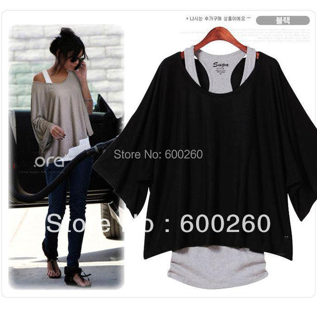 Free shipping Fashion Women's Leisure Loose Bat Batwing Three Quarter  Sleeve Vest + Shirt 2Pcs Set 3 colors