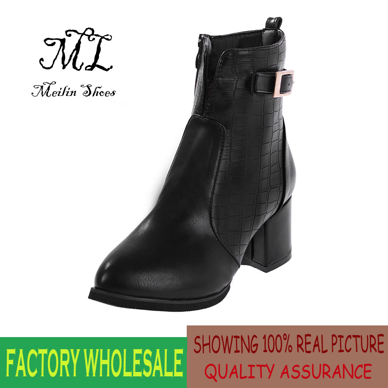 2014 Autumn boots round toe thick heel martin boots high heel ankle boots wholesale women boots size 35-39