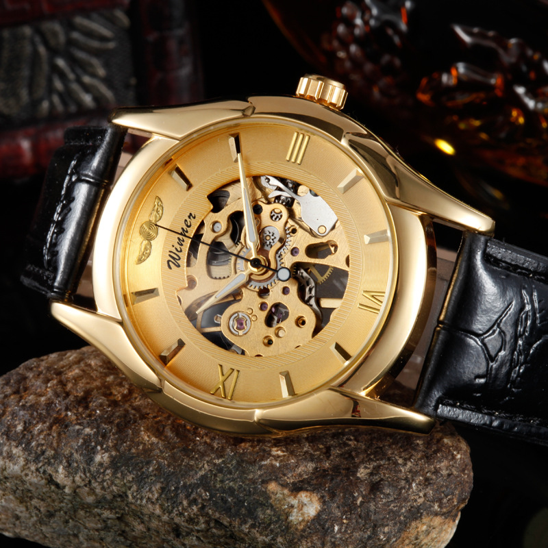 Hot Sale Senior Gem Glass Manual Mechanical Men's Quartz Watches(China (Mainland))
