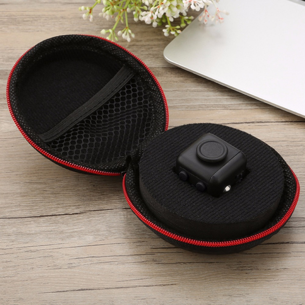 Black Red Nylon Zipper Carry Case Portable Anxiety Stress Relief Toy Gift Bag Storage Box for Fidget Cube Toys