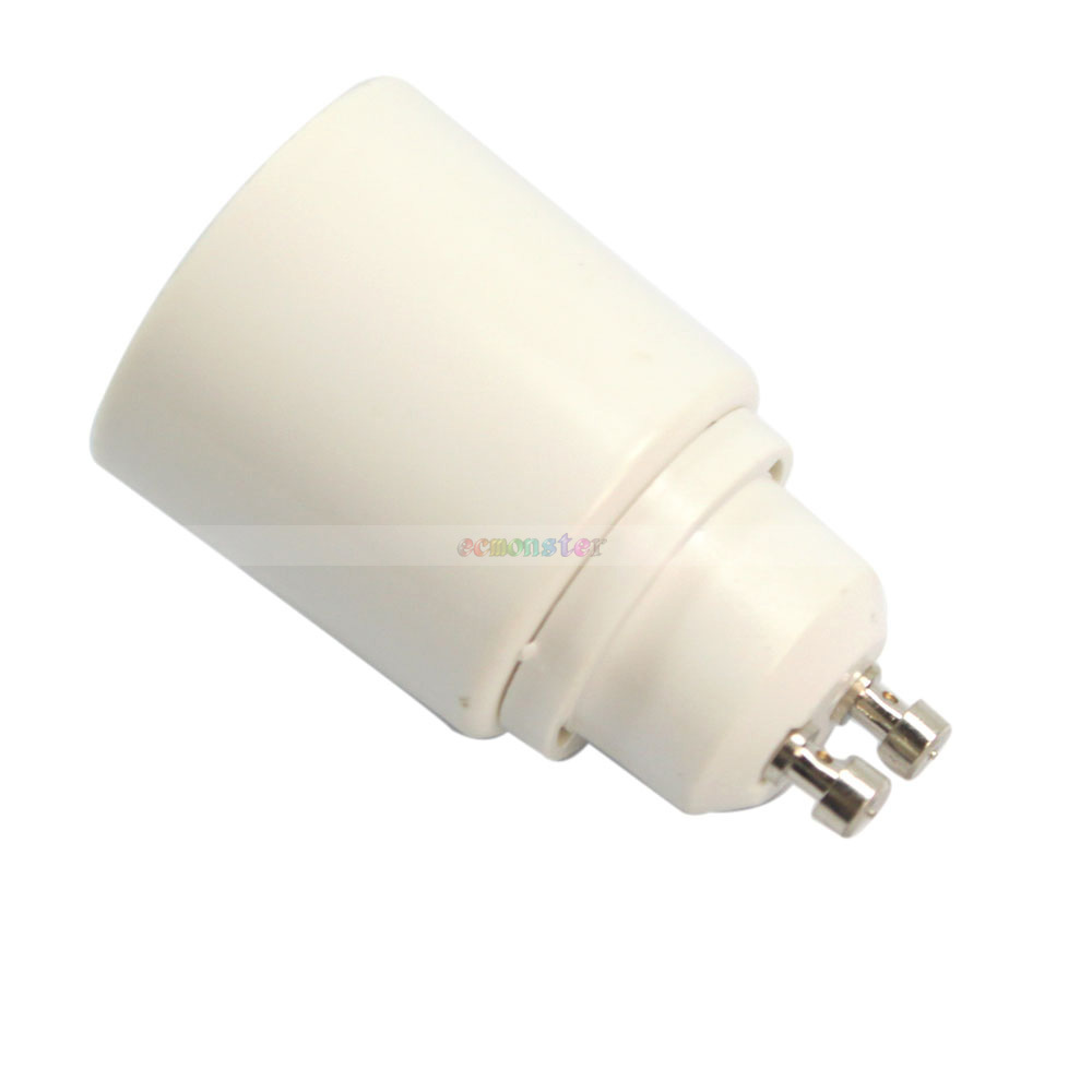 Freeshipping 6pcs lot gu10 to e27 adapter led light lamp bulbs base socket plug converter e02495 Light bulb socket