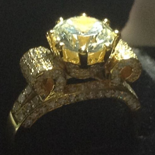 Top Luxury 3 Carat Solid 18K Yellow Gold Synthetic Diamond Au750 Yellow Gold Women Wedding Anniversary Love Forever Female Ring(China (Mainland))