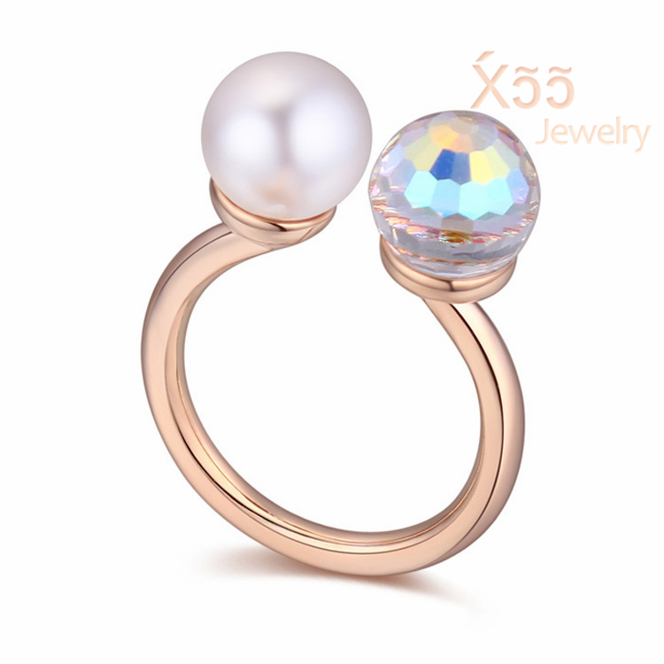 Woman luxury crystal ring rose gold-plated platinum jewelry gift pearl ball opening Silver Ring Bohemia Party Wedding R114514(China (Mainland))