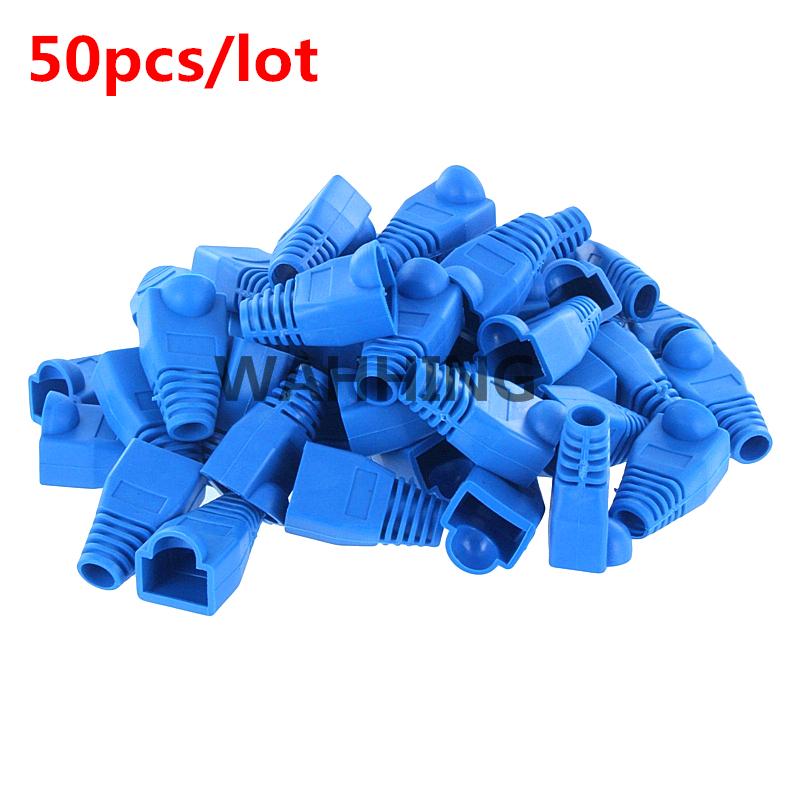 50pcs Blue CAT5E CAT6 RJ45 Plugs Ethernet Network Cable Strain Relief Boots RJ45 plugs Socket boot caps RJ-45 Connector HY202-1(Hong Kong)