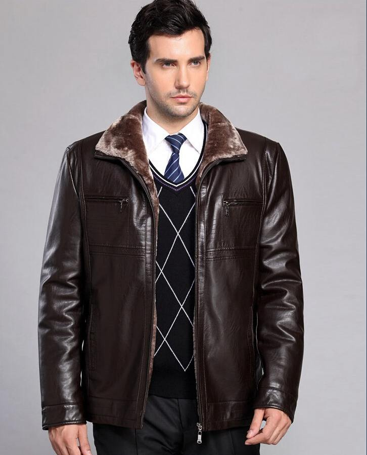 Winter Thicken Leather Coat Men Casual Standing Collar Leather Coat Warm Jacket Coat Veste Cuir Homme Giacca Pelle Uomo