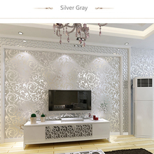 Modern Fashion Non-woven Crochet Flower 3D Wallpapers Exquisite Embossed Design for Living Room of Wall Paper Roll for Wallpaper(China (Mainland))