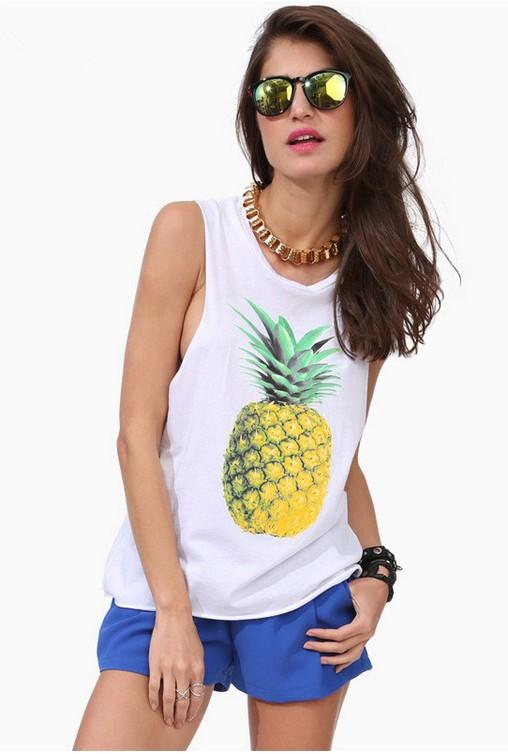 Europe style sexy ladies cartoon pineapple printing sleeveless vest white round neck casual tanks & camis women summer tops(China (Mainland))