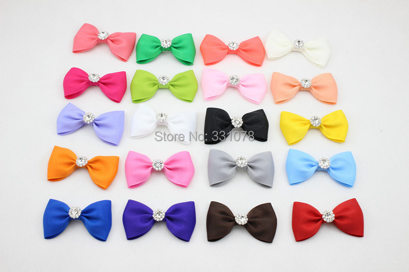 Baby Girl Hair Bows Clip with rhinestone for Little Girl Hair Accessories Boutique Bow Clip Grosgrain Ribbon HairBows 10pcs/lot(China (Mainland))